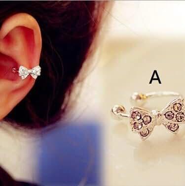 Chokushop 100% High Quality New brincos 14 New Fashion Rhinestone Crystal Party silver Ear Cuff stud Earrings for Women Accessories
