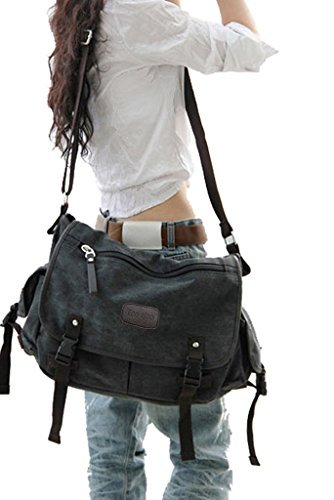 Digital baby Big Vintage Canvas Messenger Bag Book Laptop Shoulder School Ladys Women Men New (Large, Black)