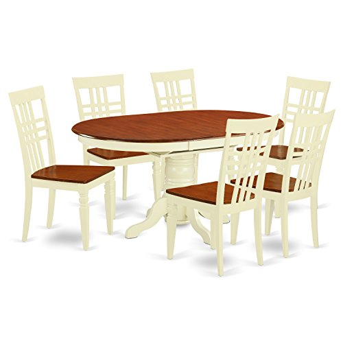 East West Furniture KELG7-BMK-W 7Piece Kitchen Table Set with One Kenley Dining Room Table & 6 Dining Chairs in Buttermilk & Cherry Finish