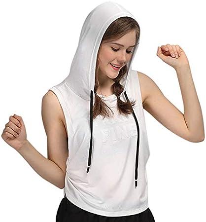 ACAMPTAR Deportes Camiseta Sin Mangas con Capucha de Yoga ...