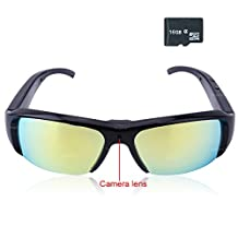 Toughsty™ 16GB 1920x1080P HD Hidden Camera Color Sunglasses Eyewear Protective Plastic Film DV Camcorder with Video Recorder