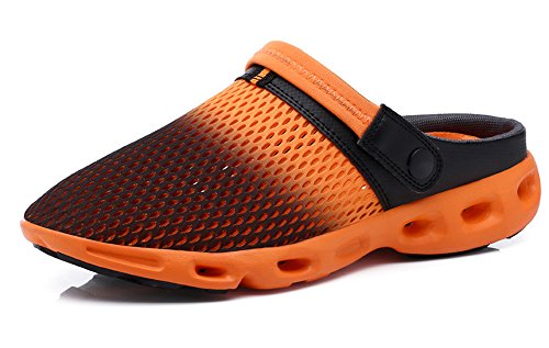 Ausom Mens Womens Mesh Breathable Summer Shoes Beach Aqua Water Sandals Outdoor Casual Slippers Black Orange
