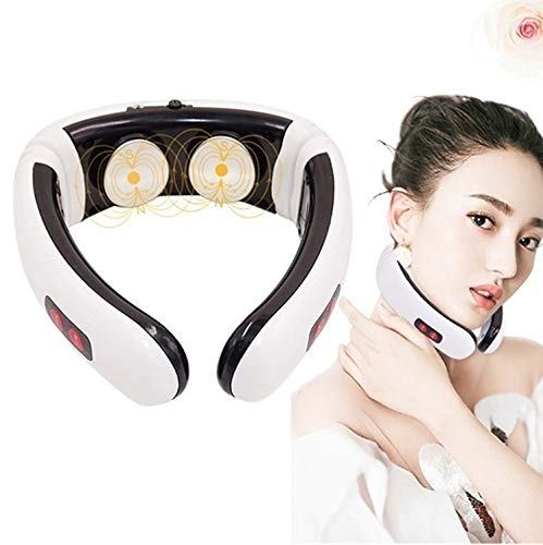 Back Neck Massager - Kneading Massage with Heat for Shoulders and Neck - Use at Home, Office, and Car (White)