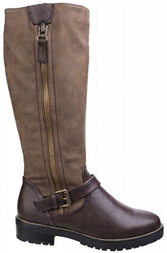 Divaz Womens/Ladies Divaz Manson Contrast Knee High Zip Up Boots Brown kXhDDtU0u