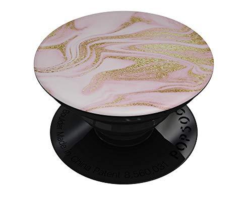 Marble Pattern Design Skinz Premium Skin Decal for PopSockets Smartphone Stand - Rose Pink Marble & Digital Gold Frosted Foil V11