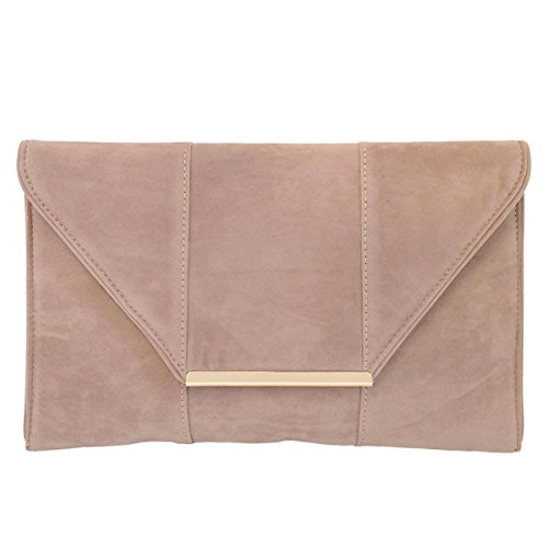 JNB Women's Faux Microsuede Envelope Clutch (Taupe)