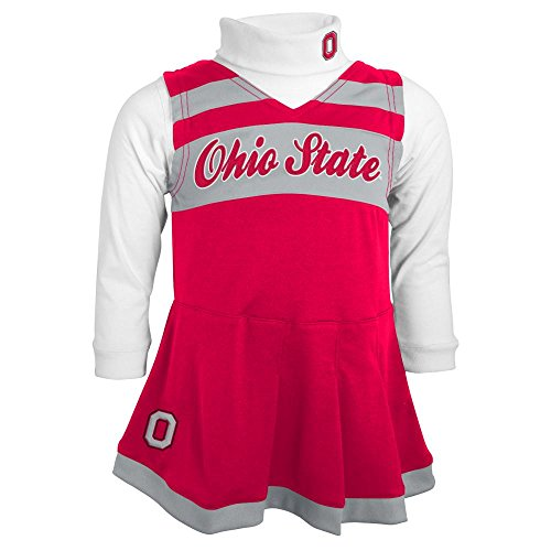 [Ohio State Buckeyes Infant Cheerleader Jumper Dress with Bodysuit (12M)] (Cheerleader Outfit For Girls)