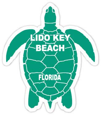 R and R Imports Lido Key Beach Florida 4 Inch Green Turtle Shape Decal Sticke