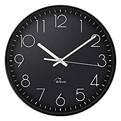 WallarGe 14 Inch Wall Clock,Silent Non-Ticking,Black Wall Clock Battery Operated,Extra Large Wall Clock for Living Room Decor.