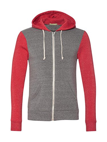 Alternative - Rocky Unisex Colorblocked Eco Fleece Hooded Full-Zip - 32023 - Eco Grey/ Eco True Red - Large - Red Collection Zip Top