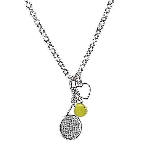 GIMMEDAT Tennis Racket Heart Necklace Mini Tennis Ball