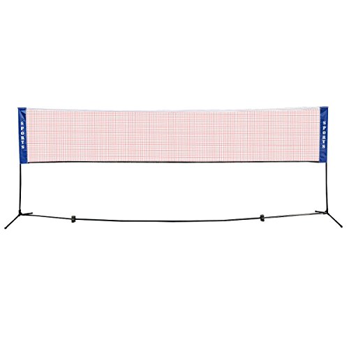 Globe House Products GHP 13.8'x5' Blue Sides & Red Polyethylene Portable Badminton Volleyball Tennis Net