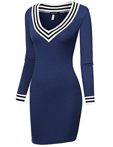 Bodycon larga manga de Acevog azul vestido 71x0wd