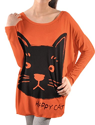 Allegra K Woman Chic Black Cat and Letters Pattern Tunic Top Shirt S Orange