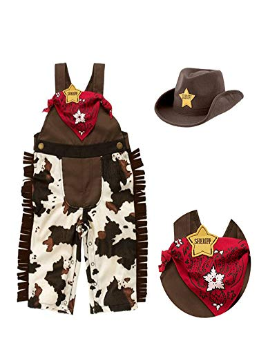 stylesilove Infant Toddler Baby Boy Sheriff Cowboy Overalls, Hat and Handkerchief 3-pc (80/6-12 Months) Brown