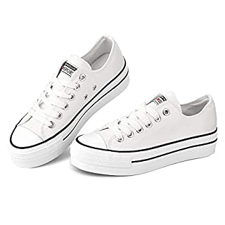 Womens Platform Low Top Sneaker Lace Up Classic Casual Shoes Fashion Canvas Comfortable for Walking White