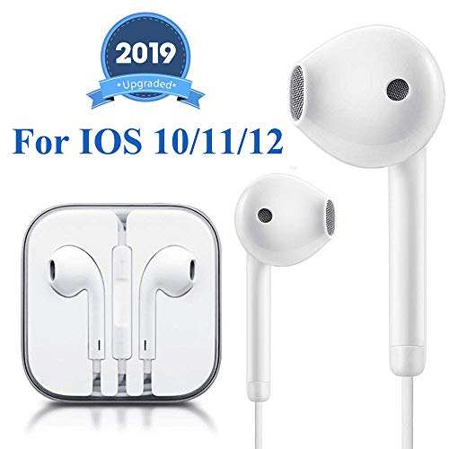 Earbuds Headphone Wired Earphones Headset with Microphone and Volume Control, Compatible with iPhone XS/XS Max/XR/X/8/8 Plus/7/7 Plus Plug and Play