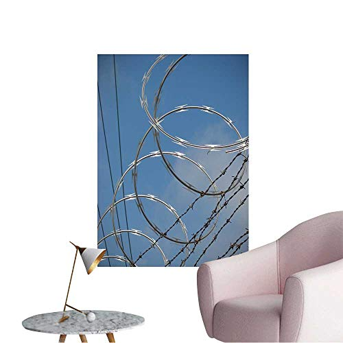 Vinyl Artwork Barbed Wire Razor Fence Easy to Peel Easy to Stick,12