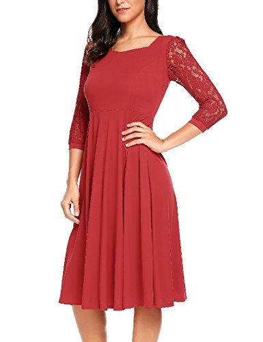 A-line Square Neck - ACEVOG Women's Lace Crochet 3/4 Sleeve Vintage Pleated Flare Midi Dress,Wine Red,Large