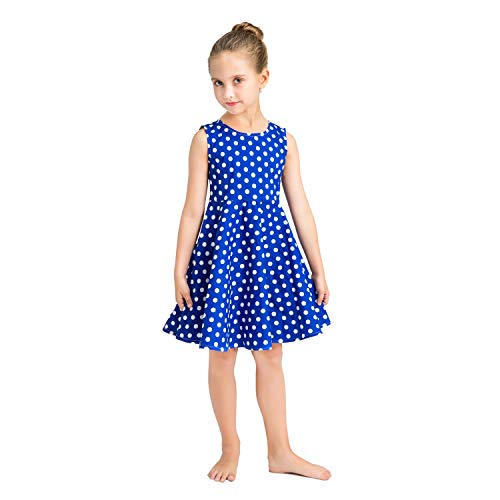 - Girl Vintage Dress Kids Swing Sleeveless Casual Dress for Party for Girl 5-6 Years