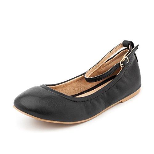 DREAM PAIRS Women's Sole-Fina-Straps Black Ankle Straps Ballet Flats Shoes - 9.5 B(M) US Ballet Flats Womens Shoes