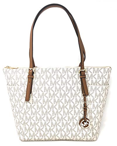 1fd7c1f5af87 Michael Kors Jet Set Item Large East West Signature Top Zip PVC Tote  (Vanilla