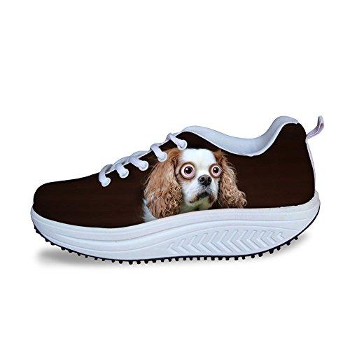 Las Mujeres Que Caminan De Las Zapatillas De Deporte Del Animal Doméstico Cuña Divertida Zapatos De Cuña Para Las Muchachas Adolescentes Casual Fit Modelo Respirable 6