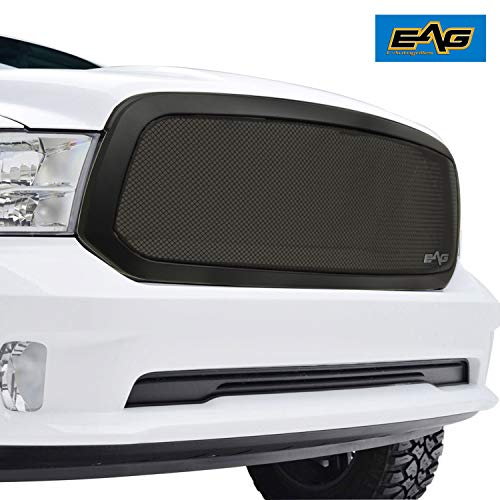 EAG 13-18 Dodge Ram 1500 Mesh Grille Black Stainless Steel Front Upper With ABS Shell