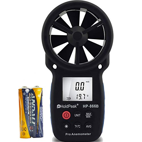 HOLDPEAK 866B Digital Anemometer Handheld Wind Speed Meter for Measuring Wind Speed, Temperature and Wind Chill with Backlight and Max/Min ()