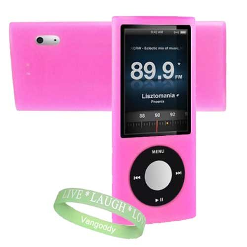 Apple Ipod Nano 8 GB / 16 GB 5th Generation 5G ( Newest Version ) Hot Pink Silicone Skin Case cover + Vangoddy ?, Live*Laugh*Love wrist band!!!