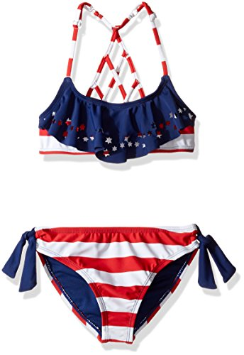 Price comparison product image YMI Big Girls' Stars N Sripes Two Piece Lazer Cut Flounce Swimsuit, Surf the Web, 14