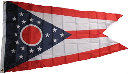 Premium Ohio State Flag (3 By 5 Foot) - Large Flag With Brass Grommets - 100% Super Polyester Material - Perfect For Hanging Indoor/Outdoor
