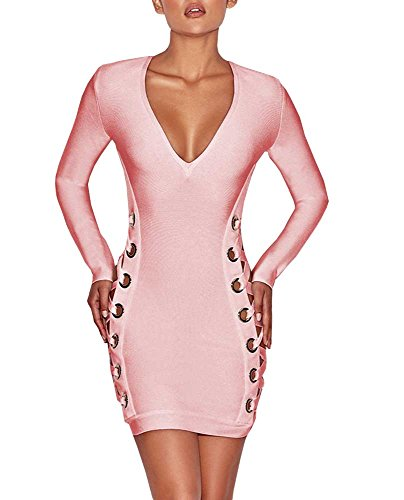 Mini Bodycon V Lace up Party Women's Neck Fashion Club Pink BEQUEEN Dress Sleeve Long qYUzEx