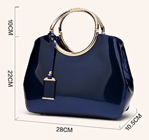 22cm Women Shiny 10 Shoulder Bag Pink Pink Red New Leather 5 Fashion black Orange 2018 Orange 28 Spring Wine Blue Bag Leather Patent Red Orange gwgq1Yr