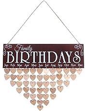WINOMO Birthdays Wooden DIY Calendar, Hanging Plaque Board for Family Birthday Reminder Home Decoration