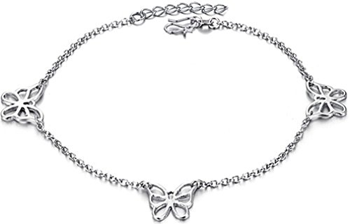 FLORAY Woman's Fashionable Charm Anklet, 18K White Gold Plated, Butterfly Decoration. Length: 22+3cm