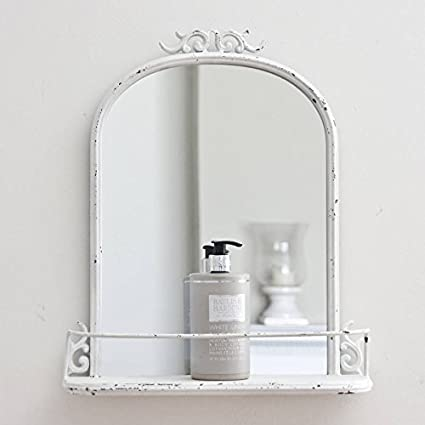 Antique Shabby Chic Ivory Metal Bathroom Wall Mirror Shelf Cosmetic