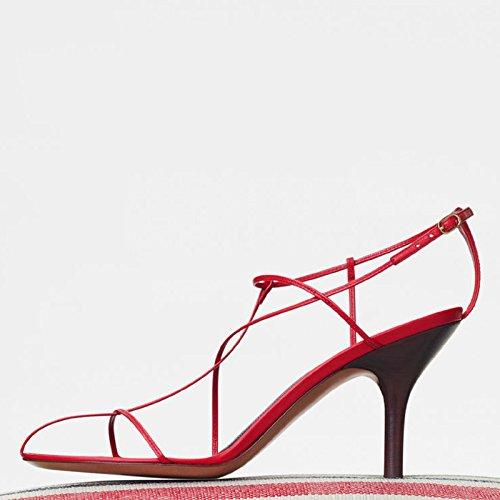 High Rojo Sandalias Negro Ranurada SHOESHAOGE Roman Ue35 Palabra Con Fino Cabeza Zapatos EU39 En Rocío Chica Frío Arranca Y Redonda Heeled Con Correa qp8PWYPn