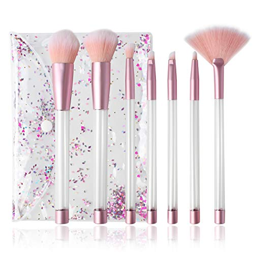 DIY Liquid Quicksand Glitter Makeup Brushes with Crystal Pouch Resin Art Craft Set 7-Count (Pouch Empty Brush Makeup)