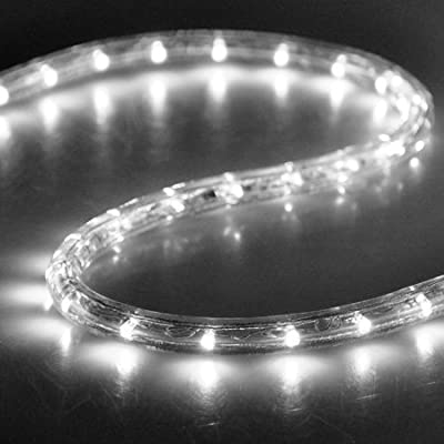 White II Christmas Lighting LED Rope Light 150ft I 1620 LED Bulbs Rope Light 150' Ft w/ Power Cords Connectors Holiday Strip Ribbon Decorative Lighting Outdoor Home Indoor 110v