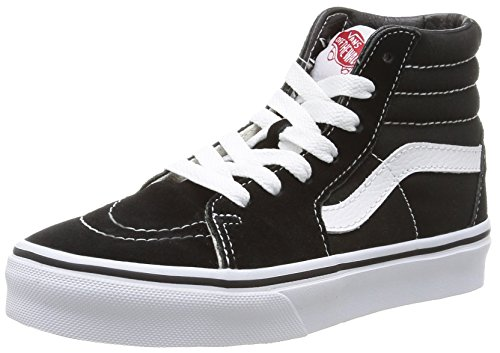 Vans Kids Sk8-Hi Skateboarding Shoes (4 Big Kid M, Black/True White)