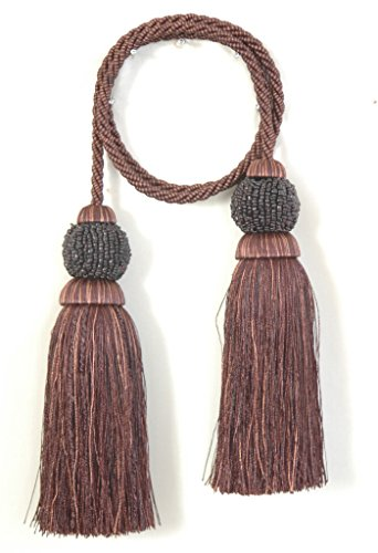 India House Chair Tie Tassels with 27-Inch Cord Dholak, 5.5-Inch, Chocolate Mix