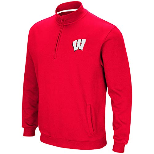 (Colosseum NCAA Men's Tailgater Cotton-Poly Fleece 1/4 Zip Pullover-Wisconsin Badgers-Cardinal-Large)