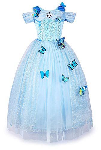 New Cinderella Dress Princess Costume Butterfly Girl(Sky Blue 6 -