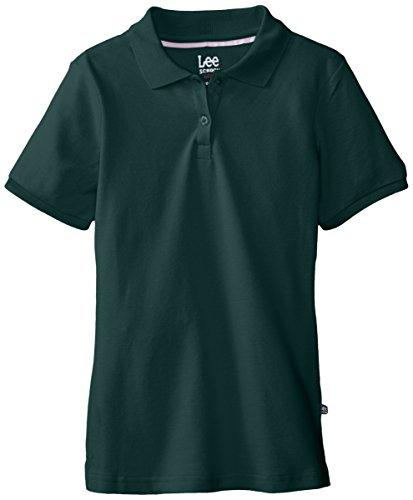 Stretch Pique Polo (Lee Uniforms Big Girls'  Short Sleeve Stretch Pique Polo,Hunter)
