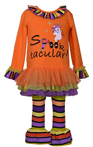 Bonnie Jean Girl's Halloween Spooktacular Applique Tutu Shirt and Leggings Set -