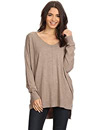 Womens Oversized V-Neck Pullover Sweater Top W/Slight Hi-Low