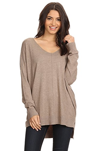 A+D Womens Loose V-Neck Pullover Sweater Top W/Slight Hi-Low (Mocha, Small/Medium)