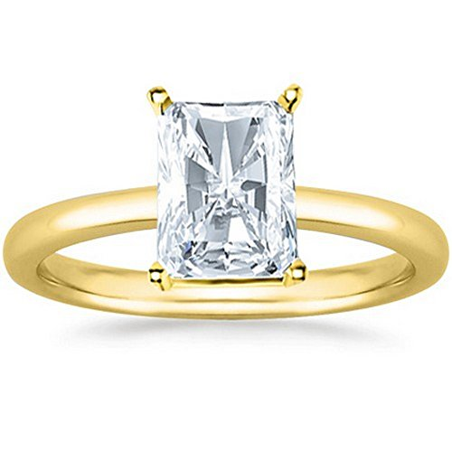 2 Carat 14K Yellow Gold Radiant Cut 3 Three Stone Diamond Engagement Ring (H-I Color SI2-I1