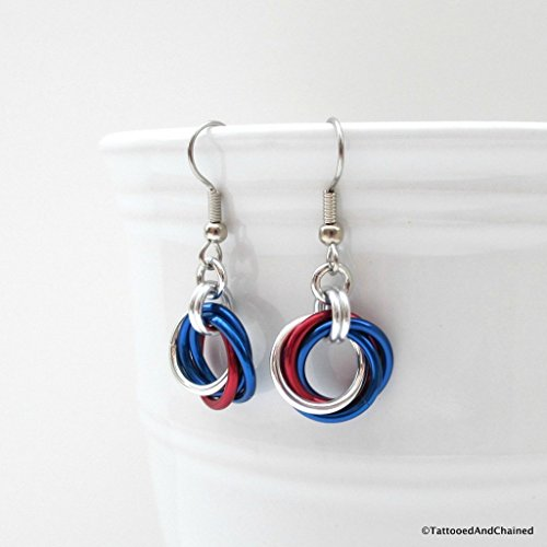 Red, white, and blue Love Knot earrings, chainmail jewelry, American patriotic jewelry